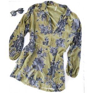 Free People Green Tunic Dress w/ Grey Floral Print